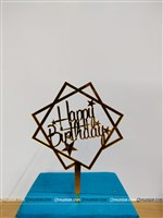 Geometrical Happy Birthday Topper (Gold)