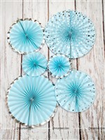 Blue & Silve Paper Fan Set