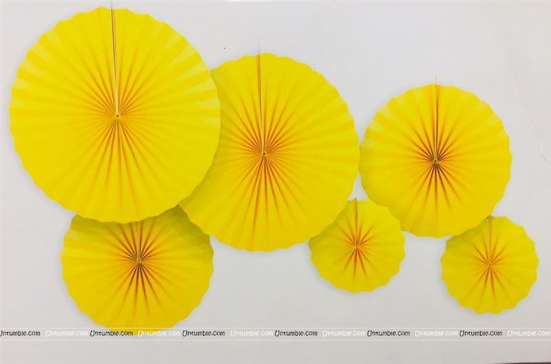Yellow 2 party decoration Paper fan kit - 6pcs