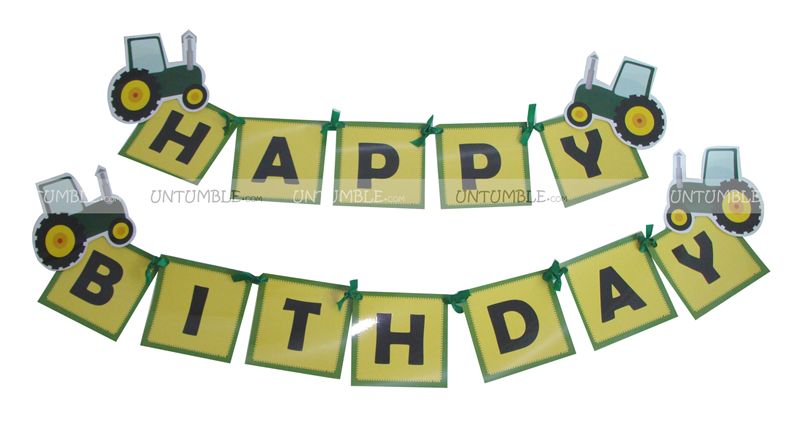 Tractor theme Happy Birthday Banners